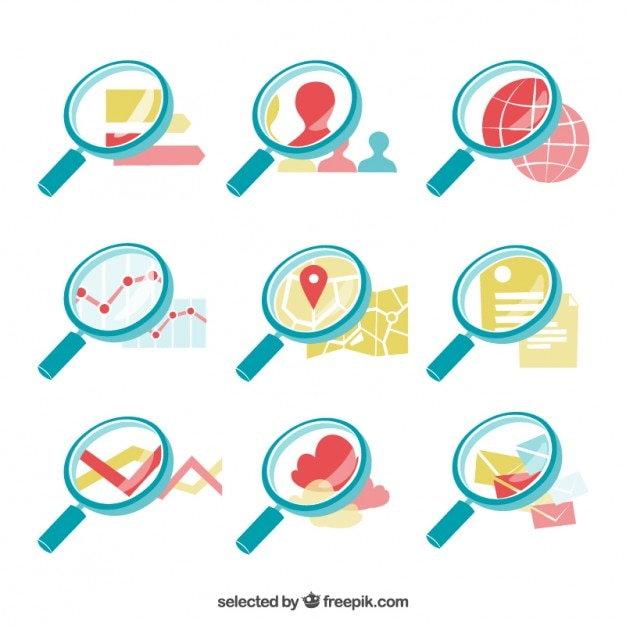 Collection of magnifying glasses Free Vector