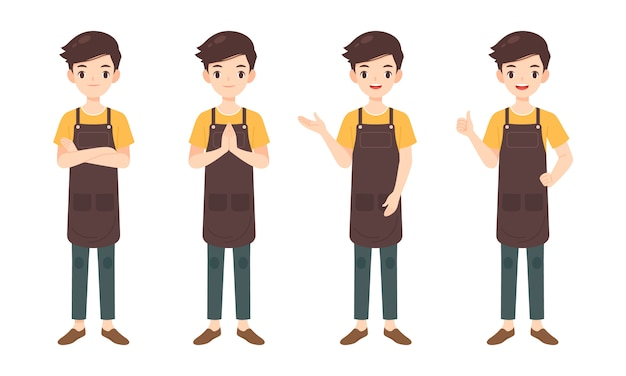 Collection of man character in many pose Premium Vector