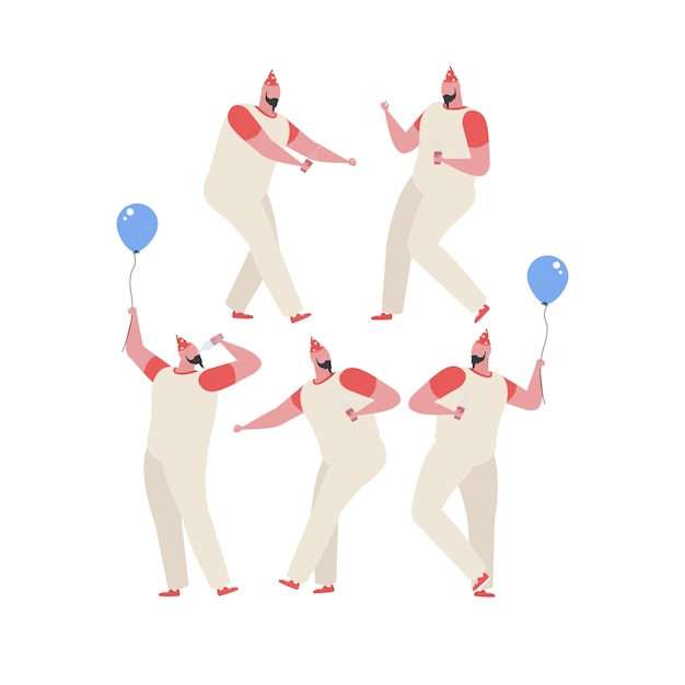 Collection of man dancing and having fun at a birthday party Premium Vector
