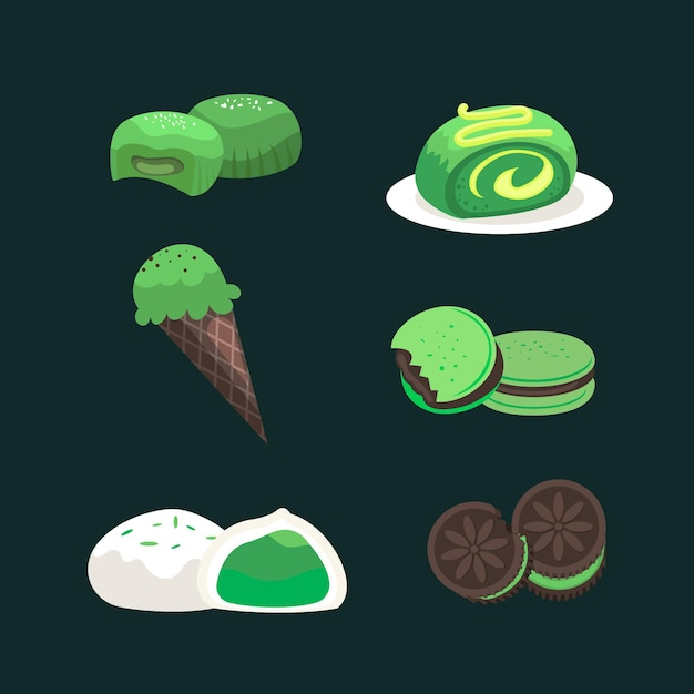 Collection of matcha dessert isolated on dark background Free Vector