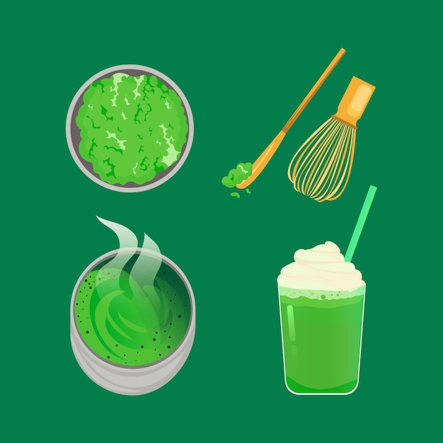 Collection of matcha tea isolated on green background Free Vector