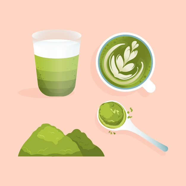 Collection of matcha tea isolated on pink background Free Vector