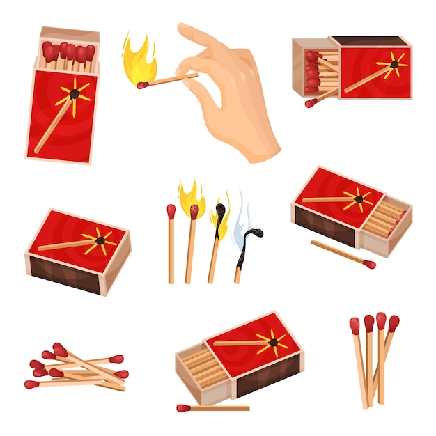 Collection of matches.  illustration  on white background. Premium Vector