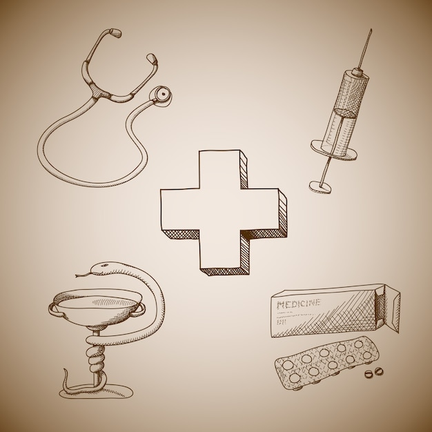 Collection of medical symbols Free Vector