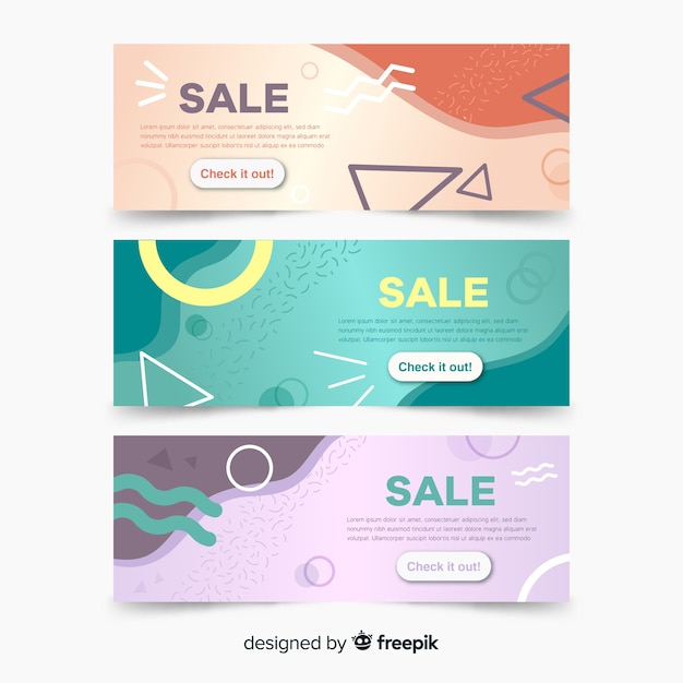 Collection of memphis sales banners Free Vector