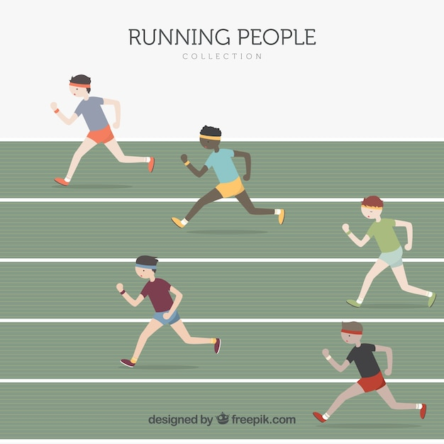 Collection of men running in a race Free Vector