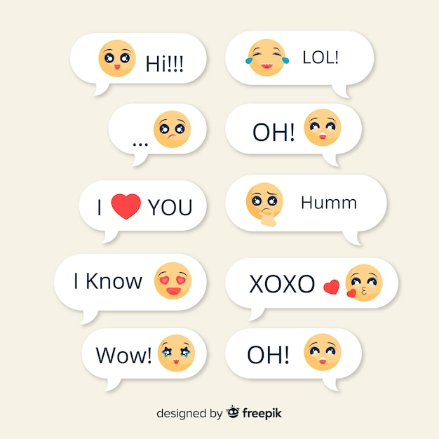 Collection of messages with emojis Free Vector