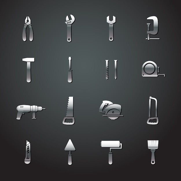 Collection of metal tool stickers Free Vector
