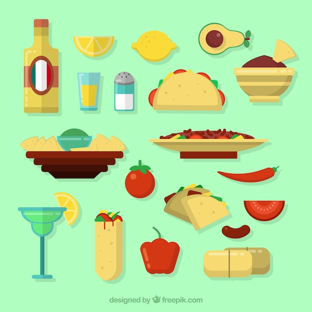 Collection of mexican ingredient and food Free Vector