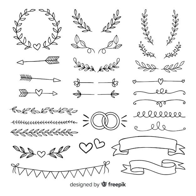 Collection of minimalist hand drawn wedding ornaments Free Vector