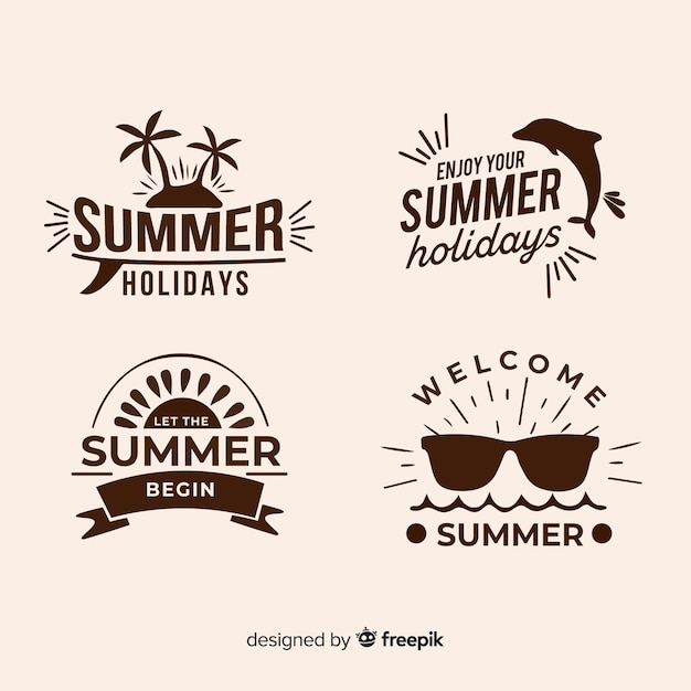 Collection of minimalist summer logos Premium Vector