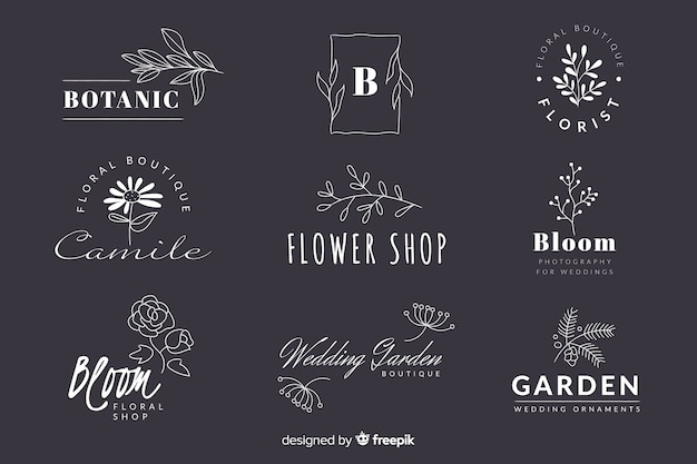 Collection of minimalist wedding florist logos Free Vector