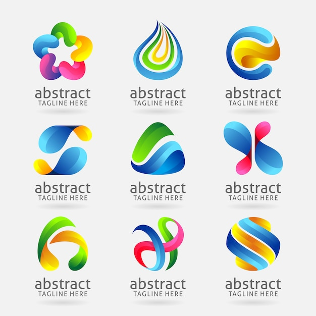 Collection of modern abstract logo design Premium Vector