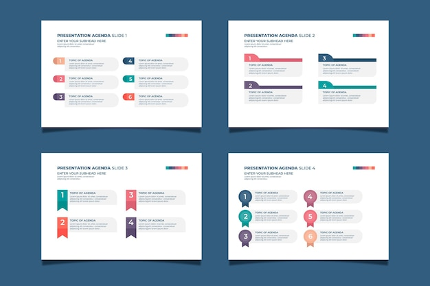 Collection of modern agenda chart Free Vector