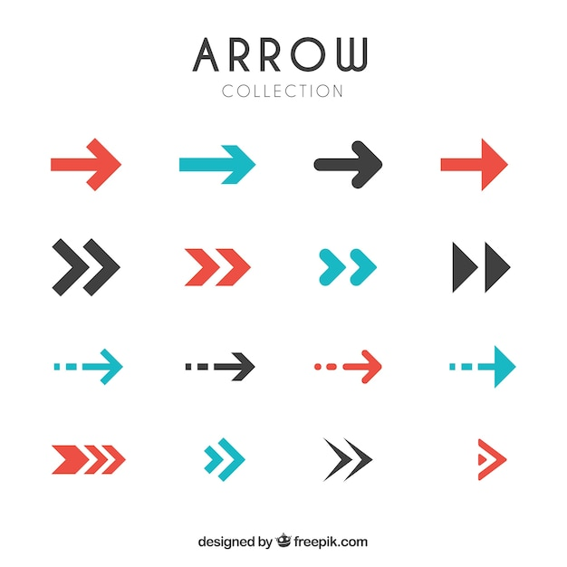 Collection of modern arrows in flat design Free Vector