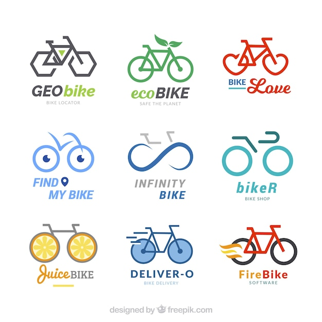 Collection of modern bicycle logos Free Vector