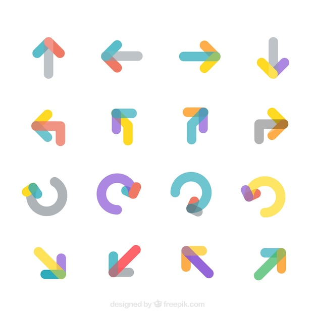 Collection of modern colored arrows Free Vector