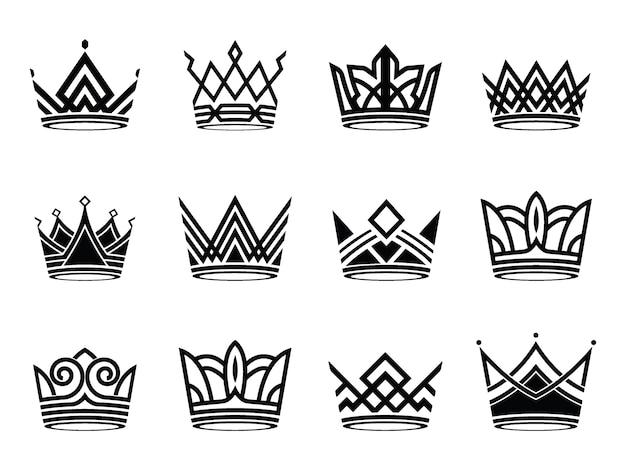 Collection of modern crown silhouette symbols logo set vector Premium Vector