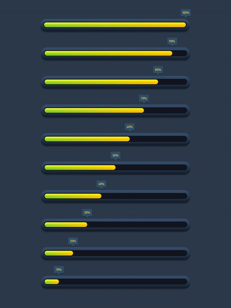 Collection of modern futuristic progress loading bar and buffering Premium Vector
