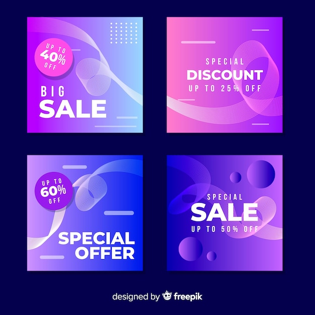 Collection of modern gradient sale banners for social media Free Vector