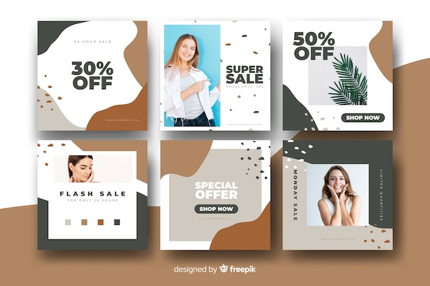 Collection of modern sale banners for social media Free Vector