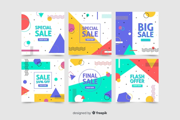 Collection of modern sales banner for social media Free Vector