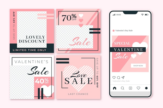 Raccolta di post di vendita di san valentino moderni Vettore gratuito
