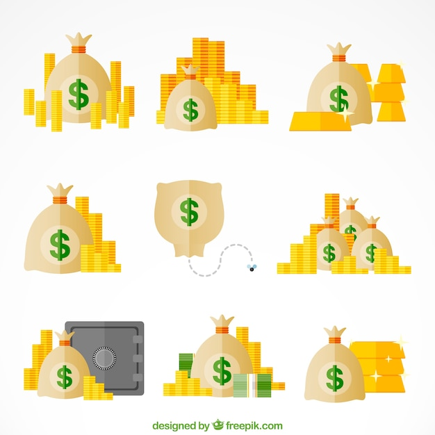 Collection of money bags with coins in flat design Free Vector