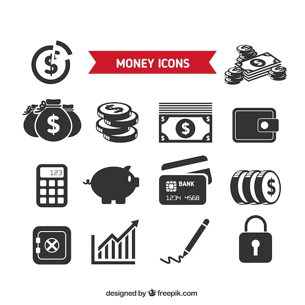 Collection of money icons Free Vector