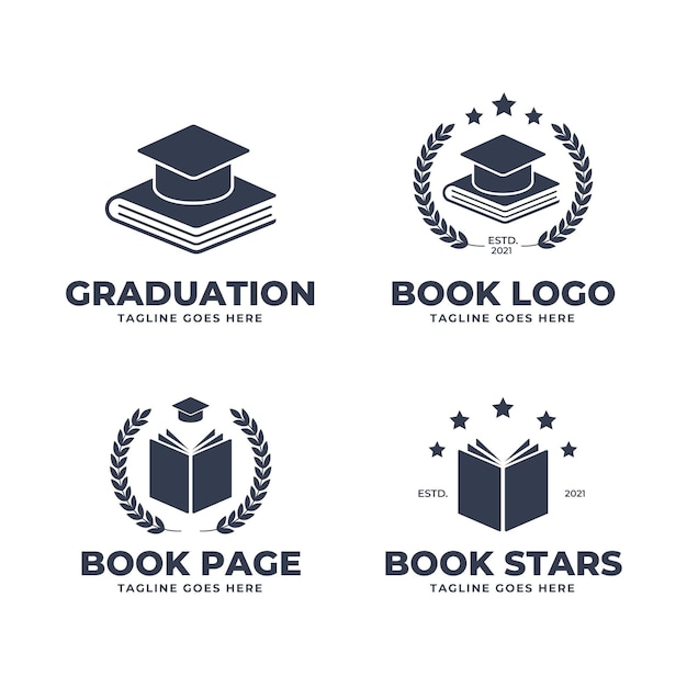 Collection of monochrome flat design book logo Free Vector