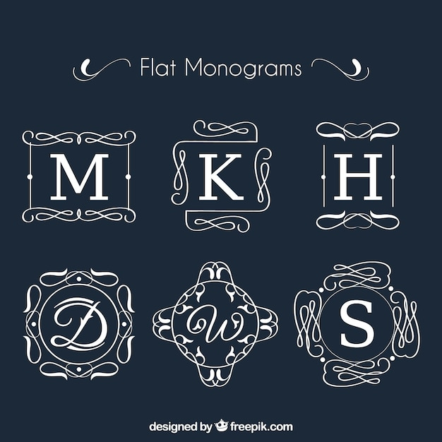 Collection of monogram in flat design Free Vector