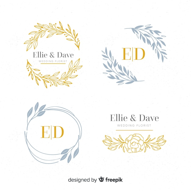 Collection of monogram wedding logos Free Vector