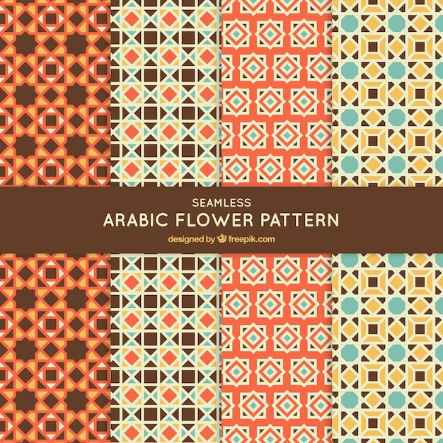 Collection of mosaic patterns in arabic style Free Vector