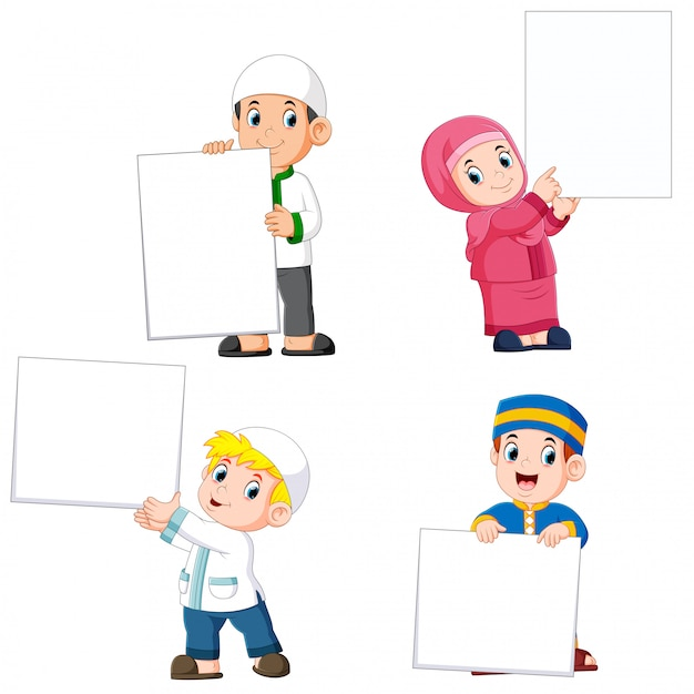 Collection of moslem people holding big blank sign Premium Vector