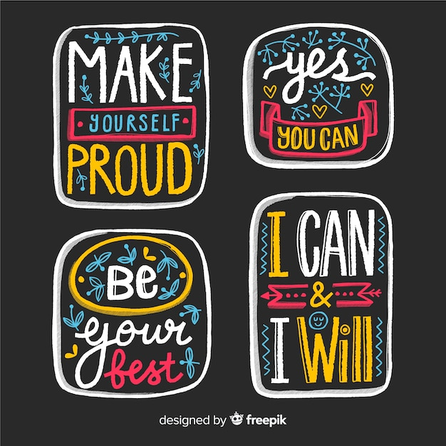 Collection of motivational lettering stickers Free Vector