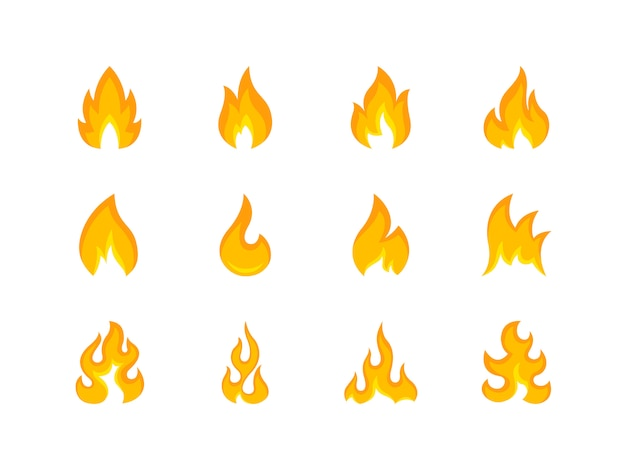 Collection of multicolored shapes of flame Premium Vector