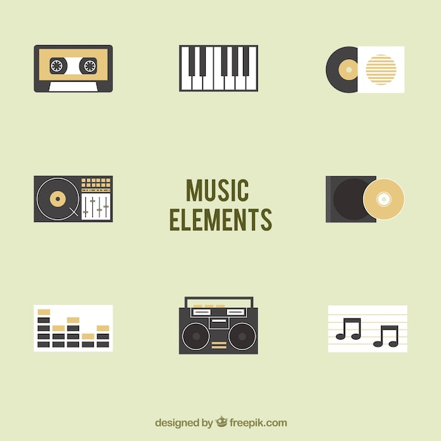 Collection of music elements Free Vector