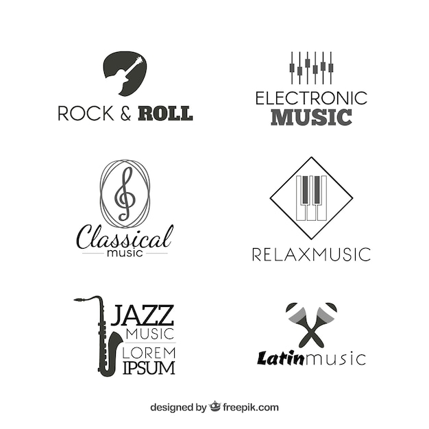 Collection of music logos Free Vector