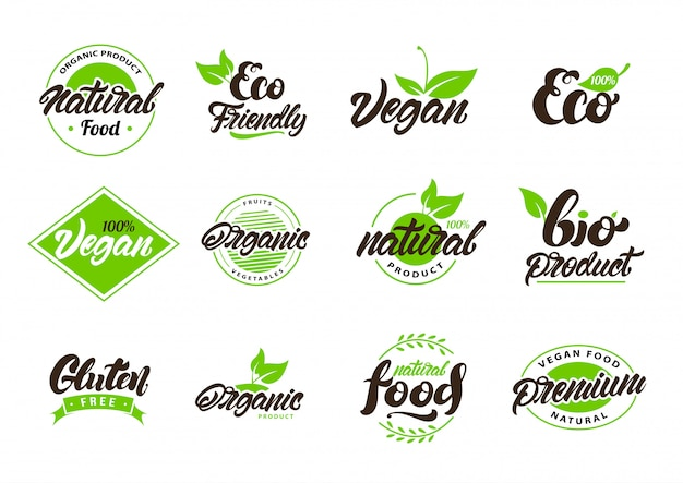 Collection of natural or eco labels , logos Premium Vector