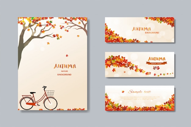 Collection of nature autumn sale banner with colorful leaves Premium Vector