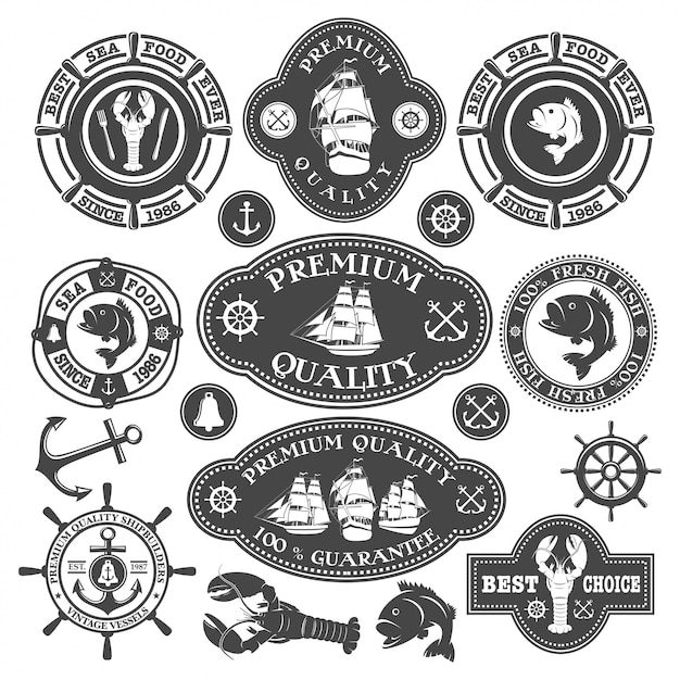Collection of nautical labels, seafood illustrations and disigned elements Free Vector