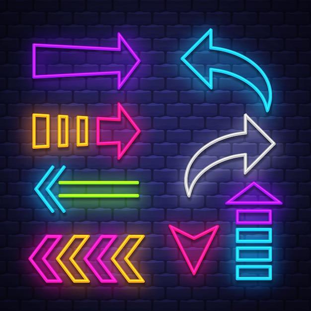 Collection neon arrows Premium Vector