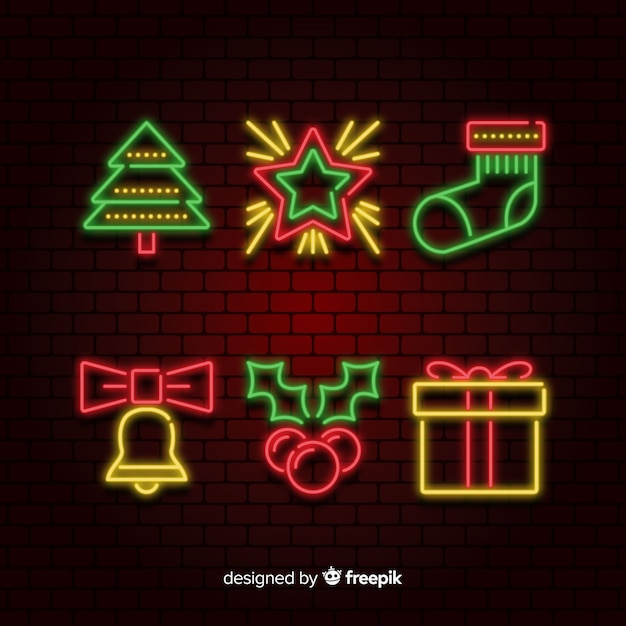 Collection of neon christmas element Free Vector