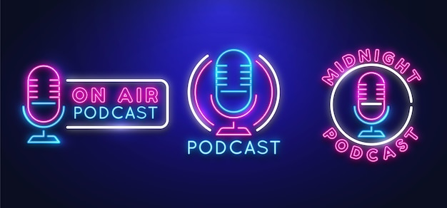 Collection of neon podcast logos template Free Vector