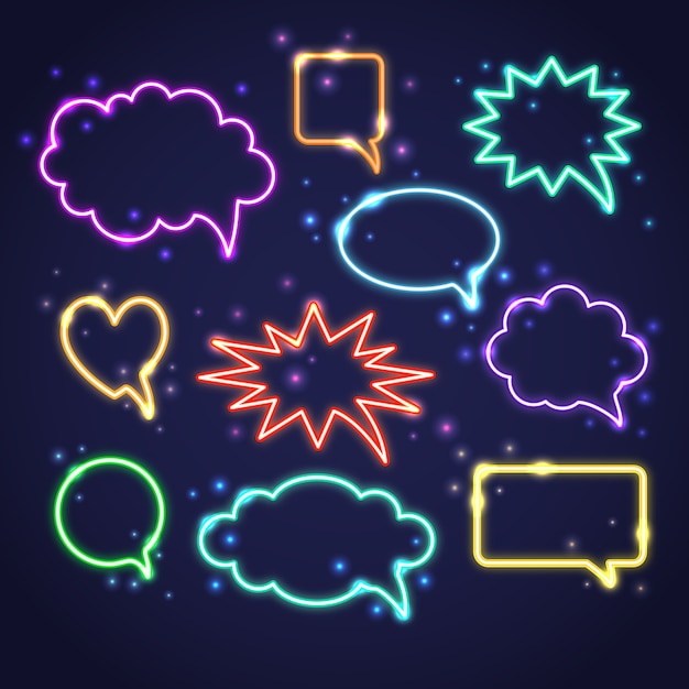 Collection of neon speech bubbles Premium Vector