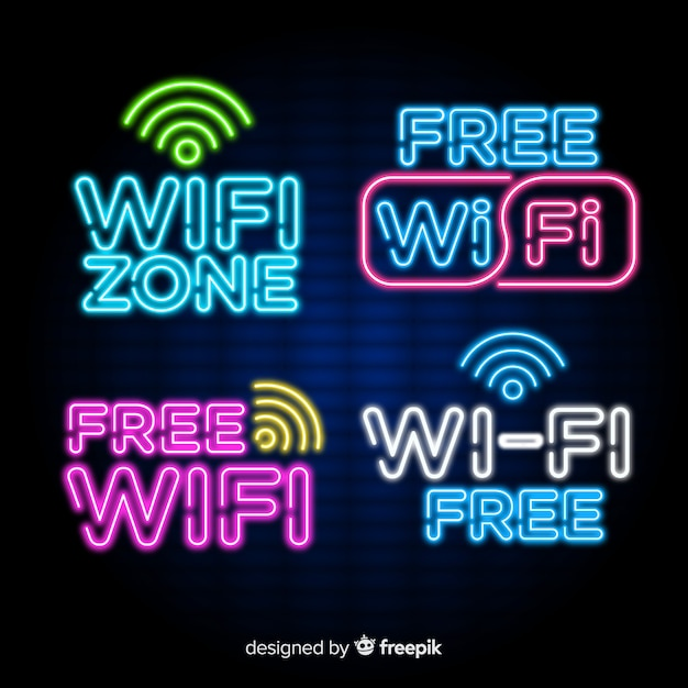 Free Vector Collection Of Neon Wifi Signs