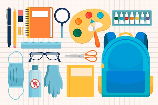 Collection of new normal school supplies Free Vector