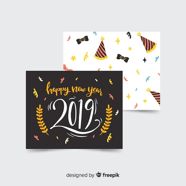 Collection of new year 2019 cards Free Vector