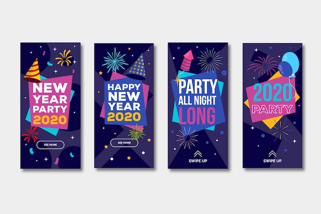 Collection of new year 2020 party instagram story Free Vector