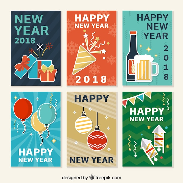 Collection of new year postcards Free Vector
